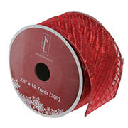 """Northlight 2.5"""" x 10 Yards Glittered  Wired Christmas Craft Ribbons, 12 pk. - Red"""