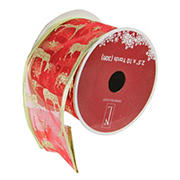"""Northlight 2.5"""" x 120 Yards Reindeer Wired Christmas Craft Ribbon, 12 pk. - Red and Gold"""