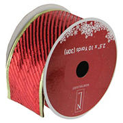 """Northlight 2.5"""" x 120 Yards Shiny Striped Christmas Craft Ribbon Spools, 12 pk. - Red and Gold"""