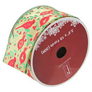 """Northlight 2.5"""" x 10 Yards Cardinals Wired Christmas Craft Ribbon Spools, 12 pk. - Green and Ivory"""