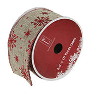"""Northlight 2.5"""" x 10 Yards Total  Snowflake and  Burlap Wired Christmas Craft Ribbon Spools, 12 pk. - Red and Beige"""