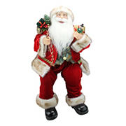 """Northlight 24"""" Chic Sitting Santa Claus Christmas Figure with Gift Bag and Presents"""