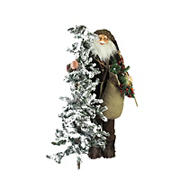 "Northlight 48"" Standing Woodland Santa Claus with Artificial Flocked Alpine Tree Christmas Figure"