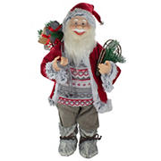 Northlight 2' Standing Santa Christmas Figure Carrying Snow Shoes and Presents