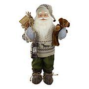 Northlight 2' Standing Santa Christmas Figure with a Plush Bear and Lantern