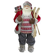 Northlight 4' Standing Santa Christmas Figure with Skis and Fur Boots