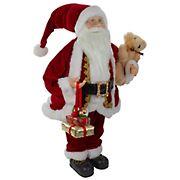 Northlight 2' Traditional Santa Christmas Figure with a Plush Bear - Brown