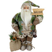 """Northlight 18"""" Standing Santa Christmas Figure Carrying a Welcome Sign"""