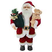 Northlight 2' Standing Santa Christmas Figure with a Plush Bear