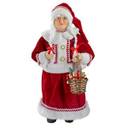 """Northlight 18"""" Standing Mrs. Claus Christmas Figure with a Basket of Goodies"""