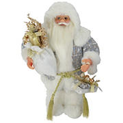 """Northlight 12"""" Standing Santa Carrying a Full Sac Of Presents Christmas Figure - White and Gold"""