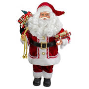 """Northlight 12"""" Standing Curly Beard Santa Christmas Figure with Presents"""