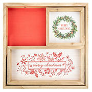 """Northlight 16"""" Merry Christmas Wood Plaques and Serving Tray with Handles, 3 pk."""