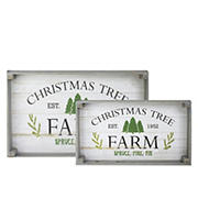 """Northlight 3-Pc. 21"""" Farm Fresh Christmas Trees Wooden Tray Hanging Signs - Gray and White"""