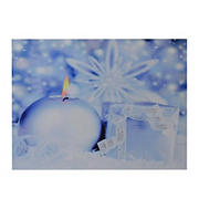"""Northlight 12"""" x 15.75"""" LED Lighted Candle and Gift Wintry Scene Christmas Canvas Wall Art"""