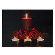 """Northlight 12"""" x 15.75"""" LED Lighted Candles Christmas Canvas Wall Art - Red and Green"""