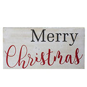"""Northlight 24"""" Distressed Merry Christmas Wooden Hanging Wall Sign - White"""