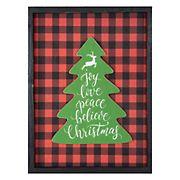 """Northlight 16"""" Buffalo Plaid Christmas Tree Shadow Box Wall Plaque - Red and Black"""