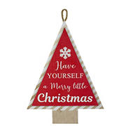 """Northlight 16"""" Merry Little Christmas Tree Wooden Hanging Wall Sign - Red and White"""