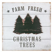 """Northlight 16"""" Washed Farm Fresh Christmas Trees Wooden Wall Sign - White"""