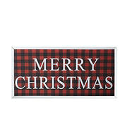 """Northlight 24"""" Buffalo Plaid Merry Christmas Wooden Hanging Wall Sign - Red and Black"""