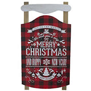 """Northlight 24"""" Buffalo Plaid Merry Christmas Sled Wooden Hanging Wall Sign - Red and Black"""