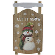 """Northlight 24"""" Let It Snow Wooden Sled Snowman and Snowflakes Wall Sign"""