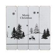 """Northlight 16"""" Merry Christmas Post Card Winter Scene Wooden Wall Sign - White"""
