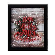 """Northlight 14"""" Framed 3D """"Have A Holly Jolly Christmas"""" LED Christmas Box Decor - Black"""