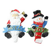 """Northlight 2-Pc. 6.25"""" Santa and Snowman Glittered Christmas Stocking Holders"""