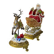 """Northlight 2-Pc. 9.5"""" Gold Santa and Reindeer Glittered Christmas Stocking Holders"""