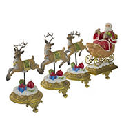 "Northlight 4-Pc. 9.5"" Santa and Reindeer Christmas Stocking Holders"