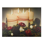 """Northlight 11.75"""" x 15.75"""" LED Lighted Flickering Candles Christmas Wall Art - Red and White"""