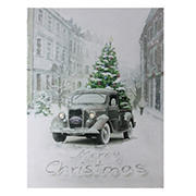 """Northlight 15.75"""" LED Lighted Ford Truck Merry Christmas Canvas Wall Art"""