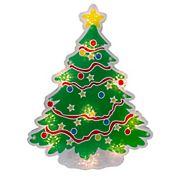 "Northlight 12.5"" Lighted Holographic Christmas Tree Window Silhouette Decor"