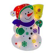"Northlight 12.5"" Lighted Snowman Christmas Window Silhouette Decor - White"