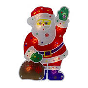 """Northlight 13"""" Lighted Holographic Santa Claus Christmas Window Silhouette Decoration - Red and White"""