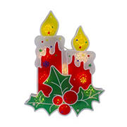 """Northlight 12"""" Lighted Berry Candle Christmas Window Silhouette Decoration - Red"""