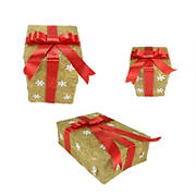 """Northlight 3-Pc. 13"""" Pre-Lit Snowflake Gift Box Outdoor Christmas Yard Art Decor - Gold and Red"""