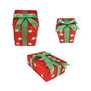 """Northlight 3-Pc. 13"""" Pre-Lit Snowflake Gift Boxes Christmas Outdoor Decor - Red and Green"""