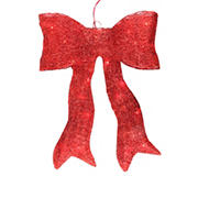 """Northlight 24"""" Sparkling Lighted Sisal Bow Christmas Outdoor Decoration - Red"""