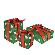 """Northlight 3-Pc. 13"""" Pre-Lit Gift Boxes Outdoor Christmas Decorations - Green and Red"""