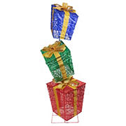 """Northlight 73"""" LED Lighted Shimmering Snowflake Stacked Gift Boxes Outdoor Decoration"""