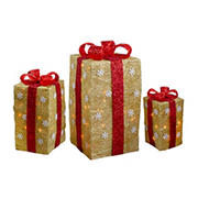"""Northlight 3-Pc. 18"""" Lighted Tall Gold Sisal Gift Boxes with Bows Christmas Outdoor Decor - Red"""
