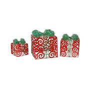 Northlight 3-Pc. Lighted Sparkling Swirl Glitter Gift Boxes Outdoor Christmas Decorations - Red