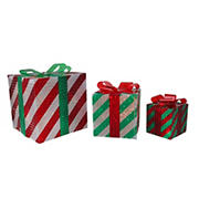 """Northlight 3-Pc. 8"""" Striped Gift Boxes Outdoor Christmas Decorations - Red and Green"""