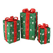 """Northlight 3-Pc. 18"""" Pre-Lit Gift Boxes Christmas Outdoor Decor - Green and Red"""