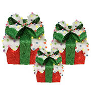 Northlight 3-Pc. Lighted Snow and Candy Covered Sisal Gift Boxes Christmas Outdoor Decorations