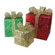 """Northlight 3-Pc. 15"""" Pre-Lit Glittering Gift Boxes Christmas Outdoor Decor - Red"""