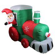 Northlight 4.5' Inflatable Santa on Locomotive Train Lighted Outdoor Christmas Decoration
